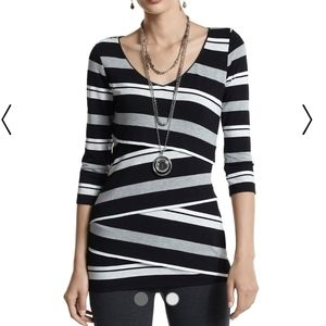 WHBM Black White & Gray Cross-Tiered Stripe Tunic